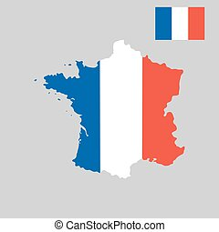 Map of France in French flag colors style on gray background