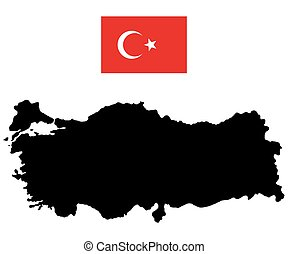 Map of Turkey and the official flag on a white background