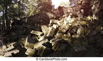Massive Heap of Ancient Stone Blocks at Cambodian Temple...