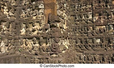 Sculpted Stone Blocks outside Terrace of Elephants at Angkor...