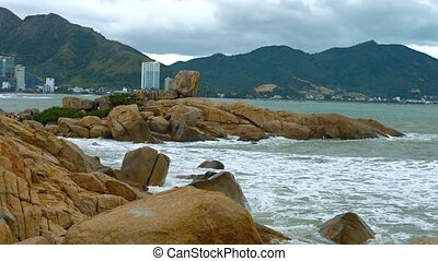 "Gentle Waves against Hon Chong Rock - ""Gentle waves and sea..."