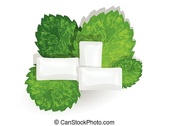 chewing gum with mint on white background