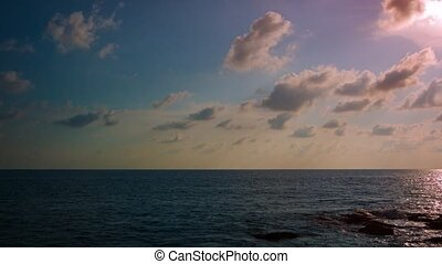 Evening sky above the ocean The quiet nature Video FullHD
