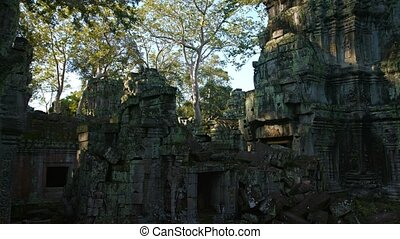 Walls and Crumbling Stone Blocks of Ta Prohm Temple Ruin -...