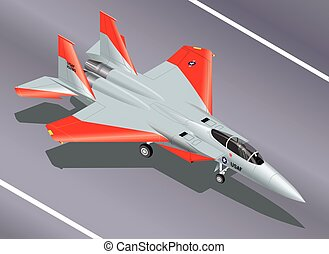 F-15 Fighter Parked Isometric - Detailed Isometric Vector...