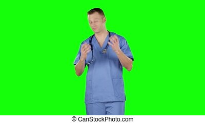 Aggressive disappointed doctor. Green screen - Aggressive...