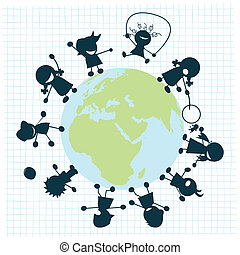 Kids - Children arround the globe, clip art