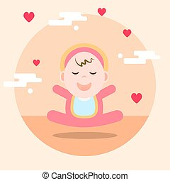 cartoon concept new born illustration on orange background