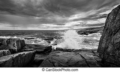 Schoodic Point - A Crashing Wave at Schoodic Point in Maine