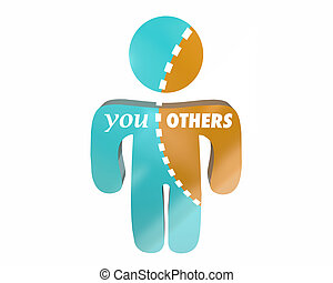 You Vs Others Person Torn Obligation Resources Time Words