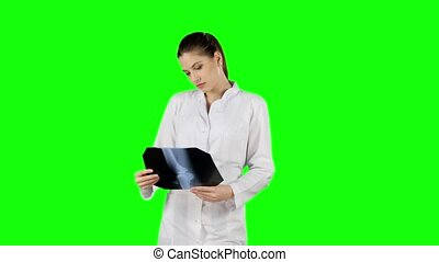 Professional doctor working with x-ray scan. Green screen -...