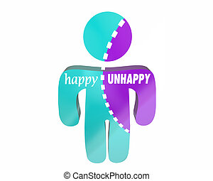 Happy Vs Unhappy Joy Emotions Sad Anger Person Bipolar...