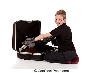 Young boy suitcase