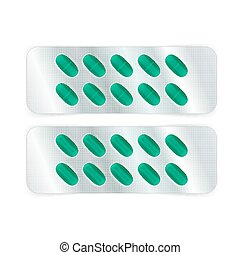 Oval Pills in Blister - Oval green pills in a blister pack...