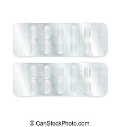 Oval Pills in Blister - Oval white pills in a blister pack...