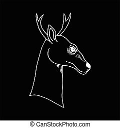 monochrome hand draw a deer head with antlers