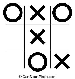 tic-tac-toe game - Black lines and signs on a white...