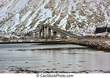 Gimsoystraumen Bridge, Lofoten Islands, Norway -...