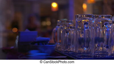 Clean glassware in the bar - Close-up shot of clean...