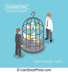 Isometric flying dollar trapped in bird cage, keeping money...