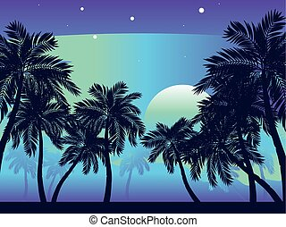 Palm Tree at Night - Tropical landscape with palm trees at...
