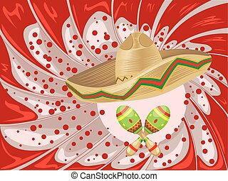 Sombrero and Maracas - Mexican straw hat sombrero and...