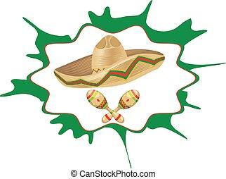 Sombrero and Maracas - Mexican straw hat sombrero and...