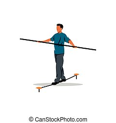 Funambulist. Vector Illustration. - Rope walker man on a...