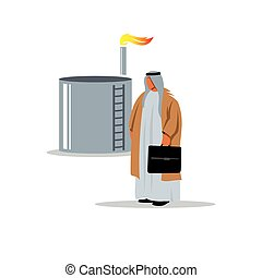 The man in the oil and gas industry. Vector Illustration.