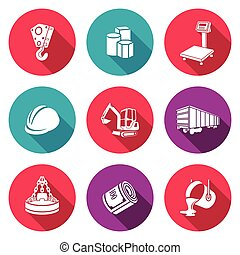 Metallurgy Icons Set Vector Illustration - Isolated Flat...