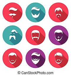 Retro Mens Hair Styles Icons Set Vector Illustration -...