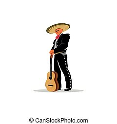 Mexican musician with guitar. Vector Illustration.