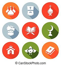 Religion Orthodoxy, Islam, Catholic Icons Set Vector...