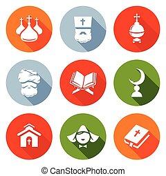 Religion Orthodoxy, Islam, Catholic Icons Set. Vector...