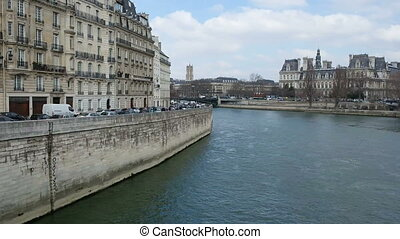 River Sena in Paris, France. River Street in the city center close to the Cathedral of Notre Dame