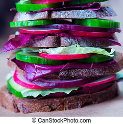 Healthy vegan sandwich with fresh vegetables - Healthy fast...