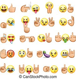 Set of smiley faces and hands icons, emoji
