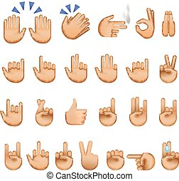 Set of hands icons and symbols, emoji