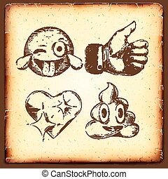 Set of emoticons,vintage gravure style, thumb up