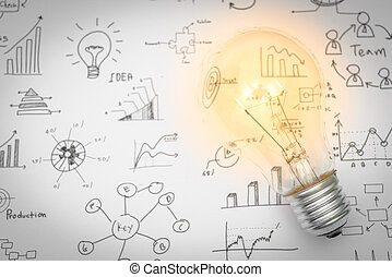 Light bulb with drawing graph - Light bulb with drawing...