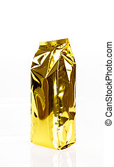 Golden foil bag package on white background
