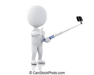 3d white people taking selfie - 3d renderer image 3d white...