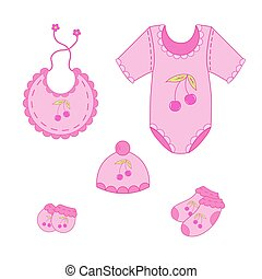 122a set of baby clothes for girl in vector