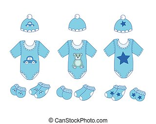 a set of baby clothes for boy in vector