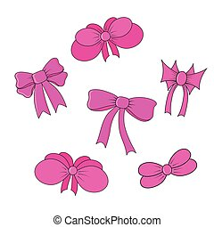 set of bows isolated in vector