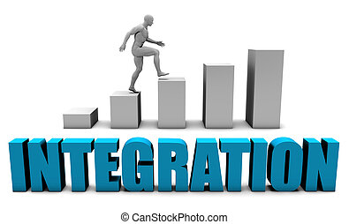 Integration 3D Concept in Blue with Bar Chart Graph