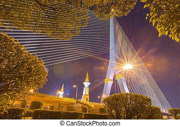Rama VIII bridge in dusk In Bangkok city