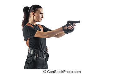 Woman police officer with gun is aiming. Isolated on white background.