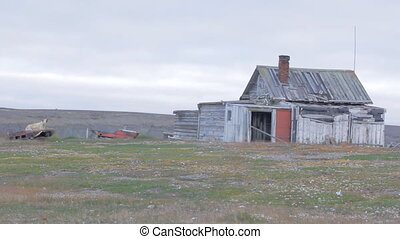 Nenets Hunting hut in distant tundra, Vaygach island -...