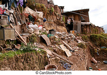 Hut In Slums in Cuzco in Peru
